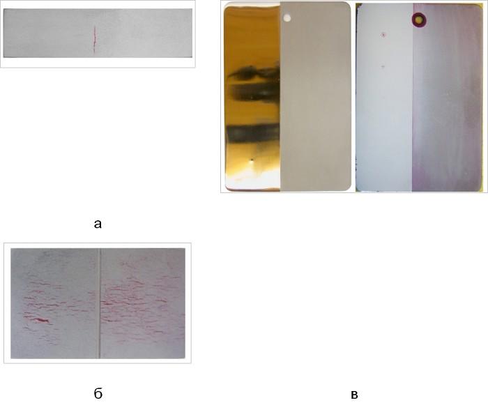 Капиллярный метод ПВК Неразрушающий контроль ИКБ Градиент  Контрольные образцы а контрольный образец в соответствии с ГОСТ 18442 б алюминиевый образец для сравнения пенетрантов в универсальная панель psm 5
